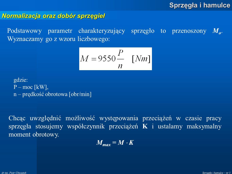 Sprzęgła i hamulce – nr 5 Sprzęgła i hamulce dr inż. Piotr Chwastyk Normalizacja oraz dobór sprzęgieł Podstawowy parametr charakteryzujący sprzęgło to