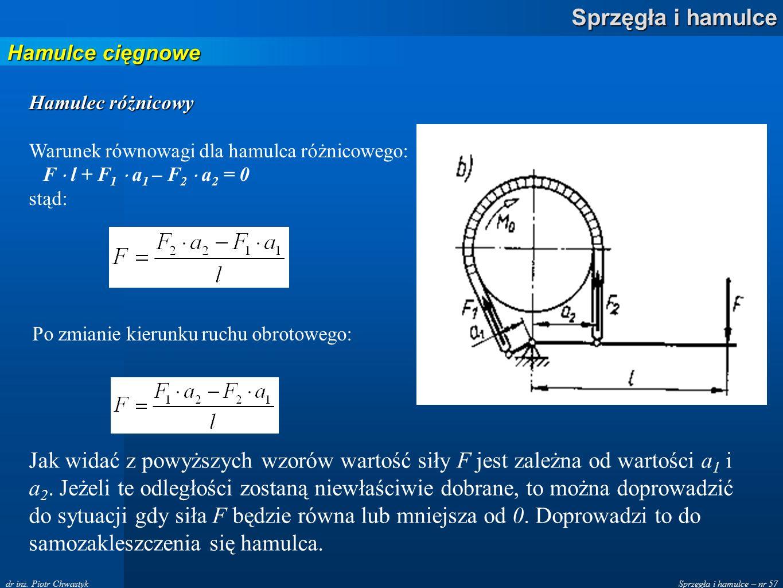 Sprzęgła i hamulce – nr 57 Sprzęgła i hamulce dr inż. Piotr Chwastyk Hamulce cięgnowe Hamulec różnicowy Warunek równowagi dla hamulca różnicowego: F l