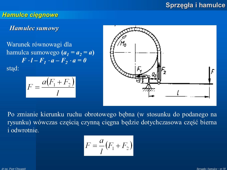Sprzęgła i hamulce – nr 58 Sprzęgła i hamulce dr inż. Piotr Chwastyk Hamulce cięgnowe Warunek równowagi dla hamulca sumowego (a 1 = a 2 = a) F l – F 1