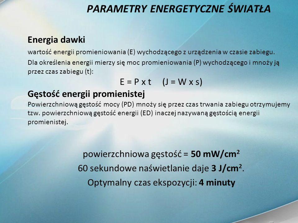 PARAMETRY ENERGETYCZNE ŚWIATŁA Energia dawki wartość energii promieniowania (E) wychodzącego z urządzenia w czasie zabiegu. Dla określenia energii mie
