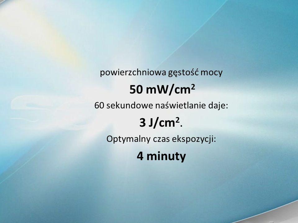 powierzchniowa gęstość mocy 50 mW/cm 2 60 sekundowe naświetlanie daje: 3 J/cm 2. Optymalny czas ekspozycji: 4 minuty