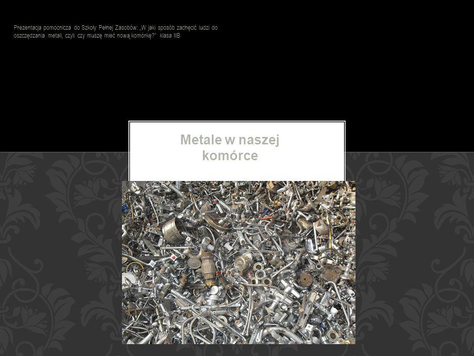 Metale w naszej komórce Prezentacja pomocnicza do Szkoły Pełnej Zasobów: W jaki sposób zachęcić ludzi do oszczędzania metali, czyli czy muszę mieć now