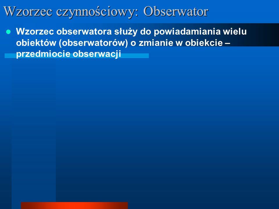 Wzorzec obserwatora służy do powiadamiania wielu obiektów (obserwatorów) o zmianie w obiekcie – przedmiocie obserwacji Wzorzec czynnościowy: Obserwato