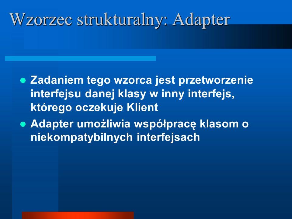 Zadaniem tego wzorca jest przetworzenie interfejsu danej klasy w inny interfejs, którego oczekuje Klient Adapter umożliwia współpracę klasom o niekomp