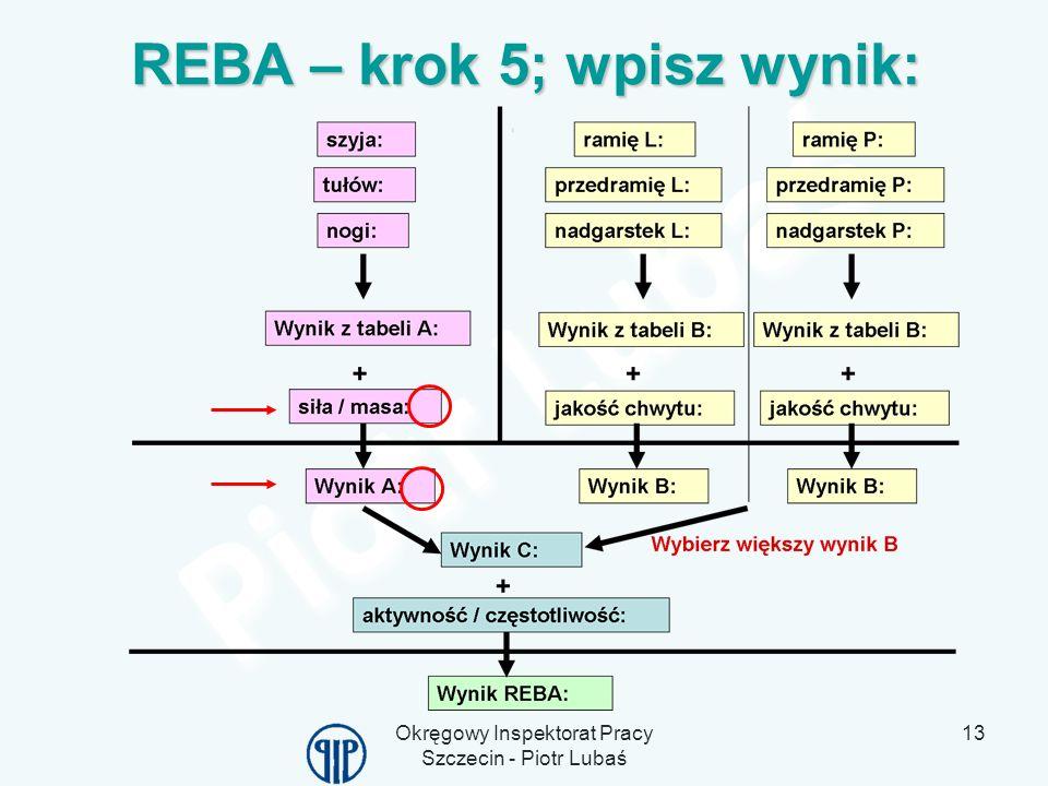 Okręgowy Inspektorat Pracy Szczecin - Piotr Lubaś 13 REBA – krok 5; wpisz wynik: