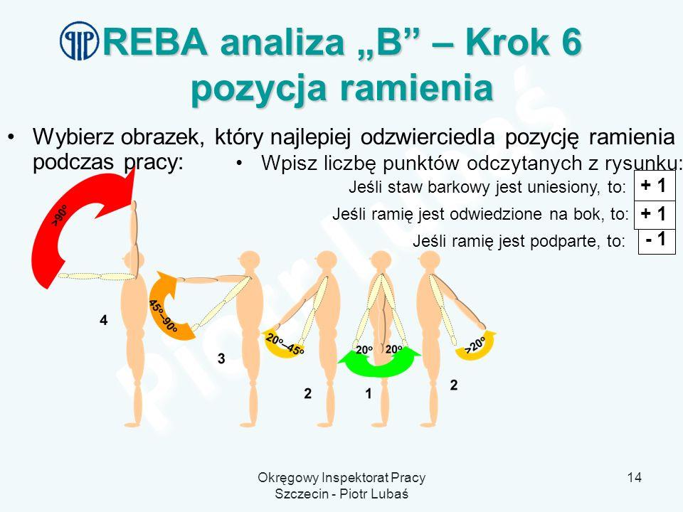 Okręgowy Inspektorat Pracy Szczecin - Piotr Lubaś 14 REBA analiza B – Krok 6 pozycja ramienia Wybierz obrazek, który najlepiej odzwierciedla pozycję r