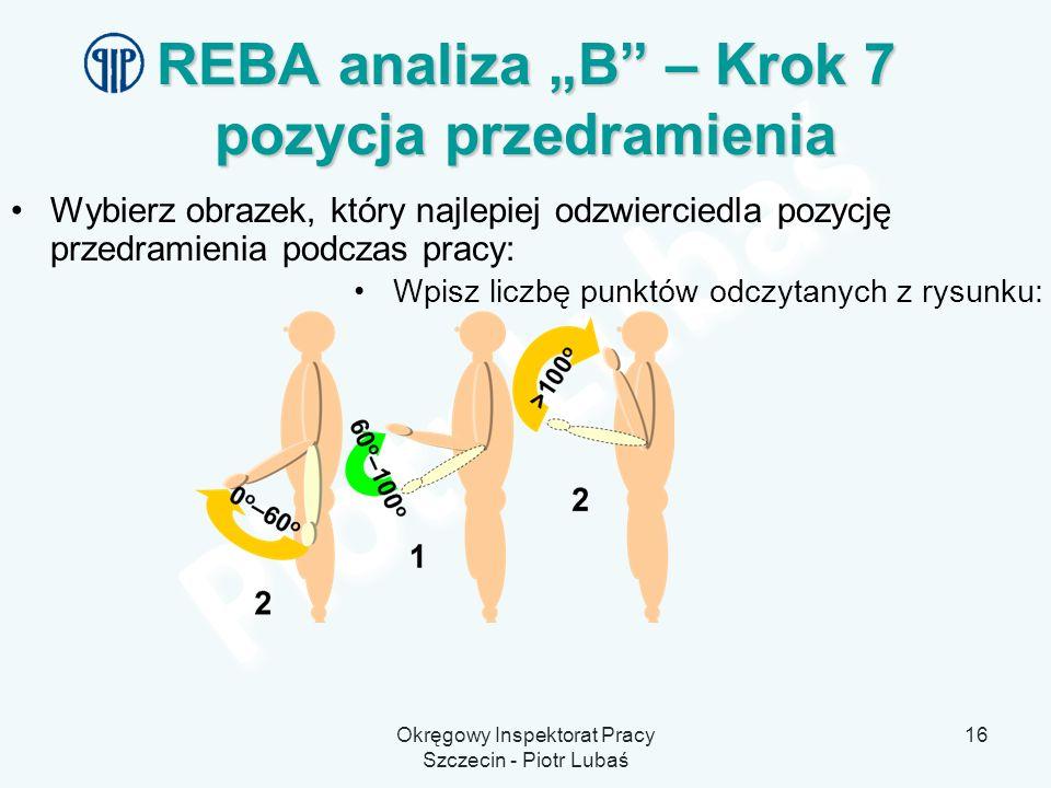 Okręgowy Inspektorat Pracy Szczecin - Piotr Lubaś 16 REBA analiza B – Krok 7 pozycja przedramienia Wybierz obrazek, który najlepiej odzwierciedla pozy