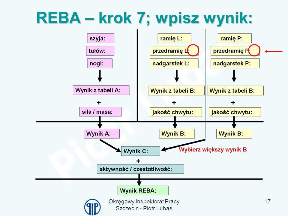 Okręgowy Inspektorat Pracy Szczecin - Piotr Lubaś 17 REBA – krok 7; wpisz wynik: