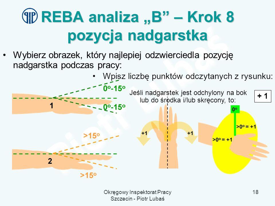 Okręgowy Inspektorat Pracy Szczecin - Piotr Lubaś 18 REBA analiza B – Krok 8 pozycja nadgarstka Wybierz obrazek, który najlepiej odzwierciedla pozycję