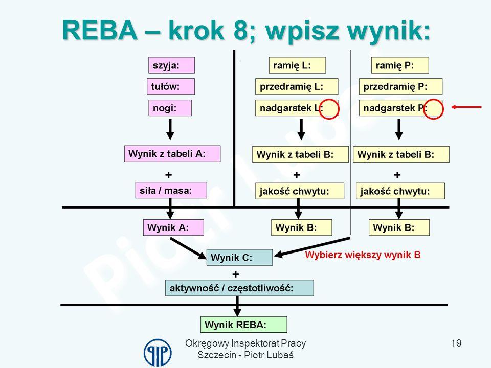 Okręgowy Inspektorat Pracy Szczecin - Piotr Lubaś 19 REBA – krok 8; wpisz wynik: