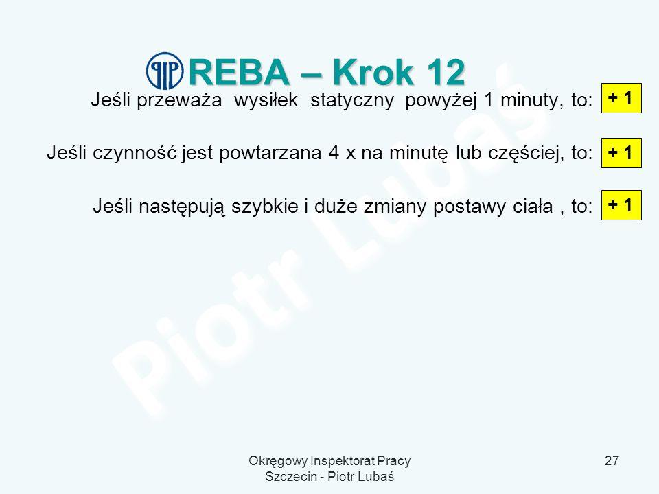 Okręgowy Inspektorat Pracy Szczecin - Piotr Lubaś 27 REBA – Krok 12 Jeśli przeważa wysiłek statyczny powyżej 1 minuty, to: Jeśli czynność jest powtarz
