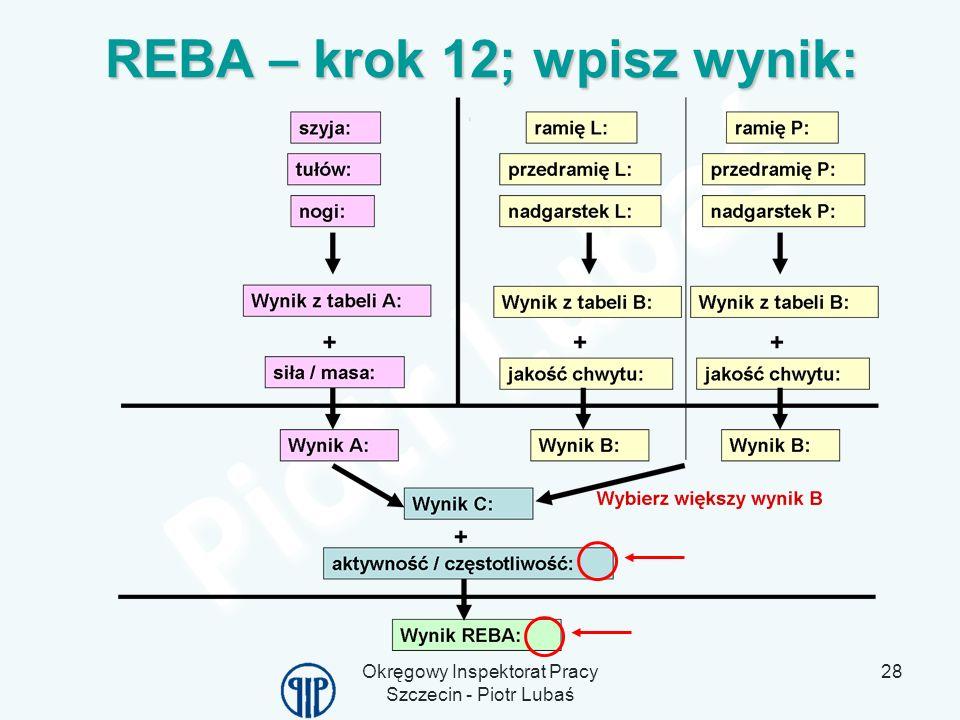 Okręgowy Inspektorat Pracy Szczecin - Piotr Lubaś 28 REBA – krok 12; wpisz wynik: