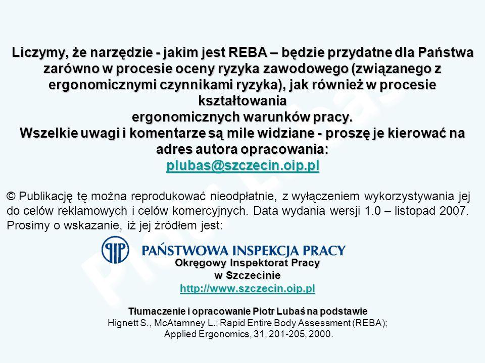Liczymy, że narzędzie - jakim jest REBA – będzie przydatne dla Państwa zarówno w procesie oceny ryzyka zawodowego (związanego z ergonomicznymi czynnik