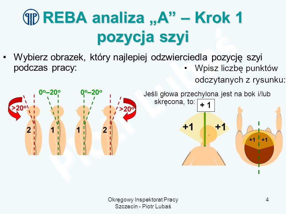 Okręgowy Inspektorat Pracy Szczecin - Piotr Lubaś 4 REBA analiza A – Krok 1 pozycja szyi Wybierz obrazek, który najlepiej odzwierciedla pozycję szyi p