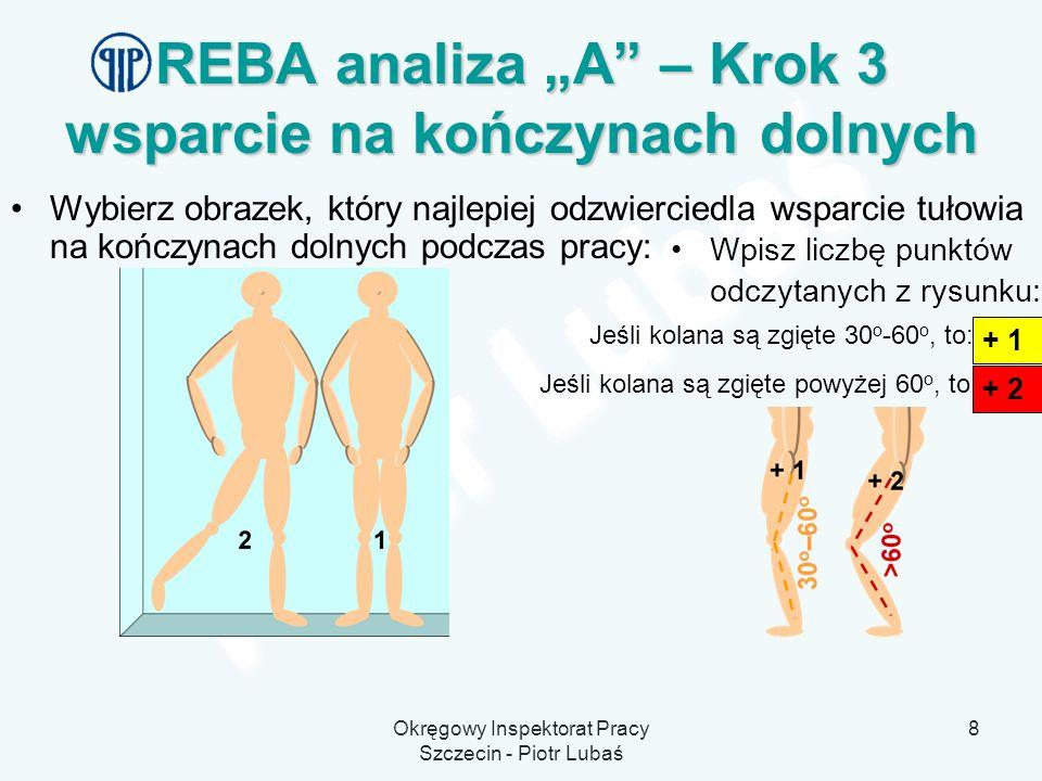 Okręgowy Inspektorat Pracy Szczecin - Piotr Lubaś 8 REBA analiza A – Krok 3 wsparcie na kończynach dolnych Wybierz obrazek, który najlepiej odzwiercie