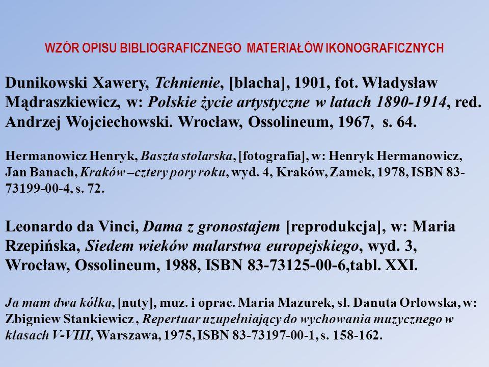 WZÓR OPISU BIBLIOGRAFICZNEGO MATERIAŁÓW IKONOGRAFICZNYCH Dunikowski Xawery, Tchnienie, [blacha], 1901, fot. Władysław Mądraszkiewicz, w: Polskie życie