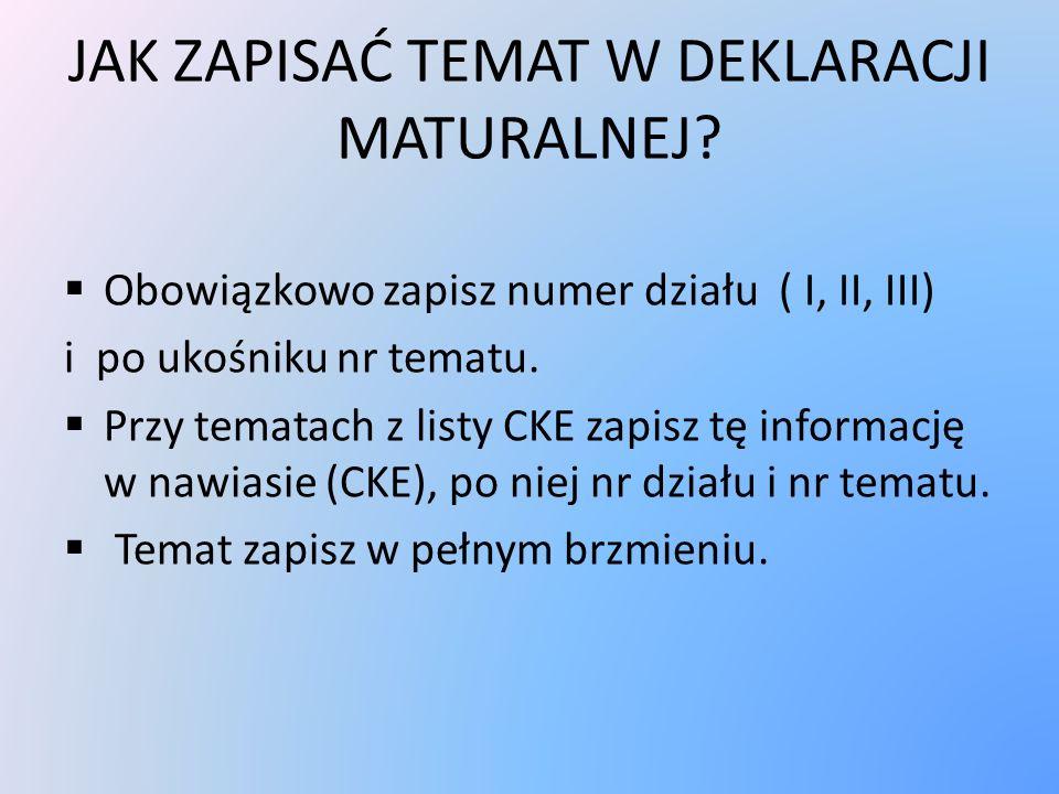PRZYKŁADY I / 4 Analizując wiersze Z.