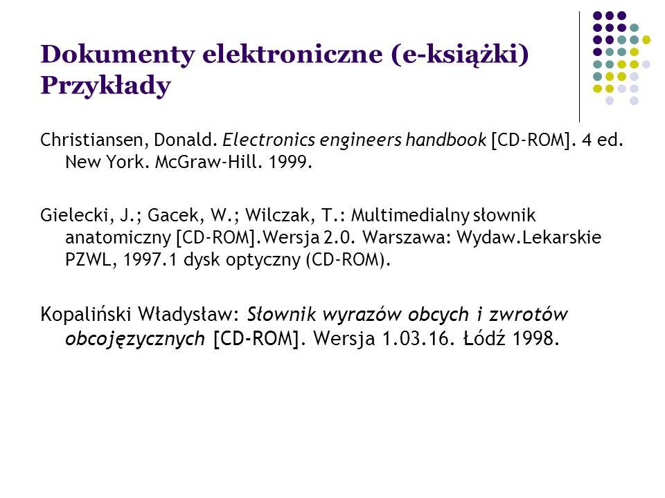 Dokumenty elektroniczne (e-książki) Przykłady Christiansen, Donald.