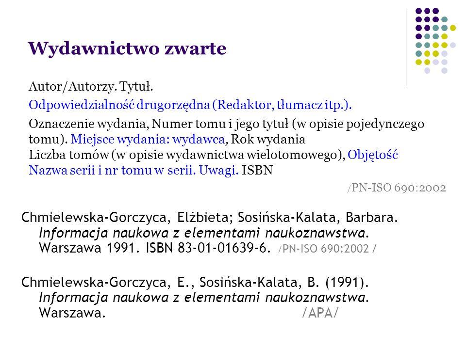 Wydawnictwo zwarte Chmielewska-Gorczyca, Elżbieta; Sosińska-Kalata, Barbara.