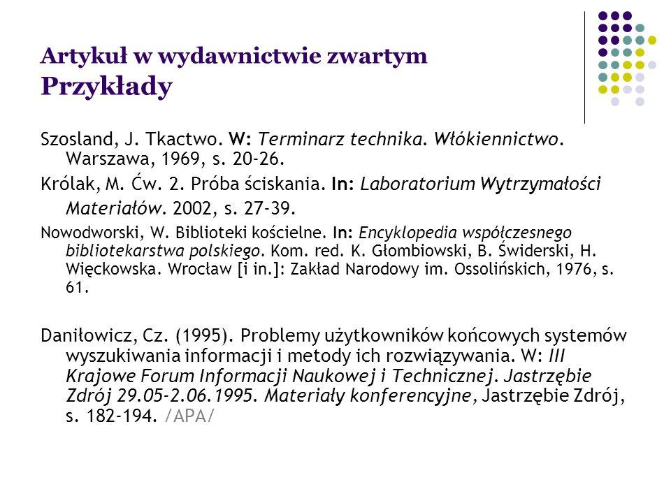 Artykuł w wydawnictwie zwartym Przykłady Szosland, J.