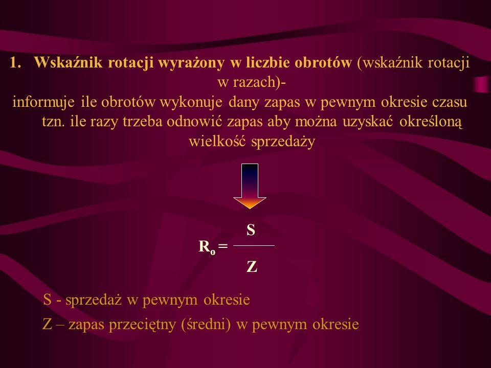 1.Wskaźnik rotacji wyrażony w liczbie obrotów (wskaźnik rotacji w razach)- informuje ile obrotów wykonuje dany zapas w pewnym okresie czasu tzn. ile r