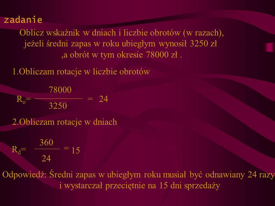 zadanie Oblicz wskaźnik w dniach i liczbie obrotów (w razach), jeżeli średni zapas w roku ubiegłym wynosił 3250 zł,a obrót w tym okresie 78000 zł. Ro=