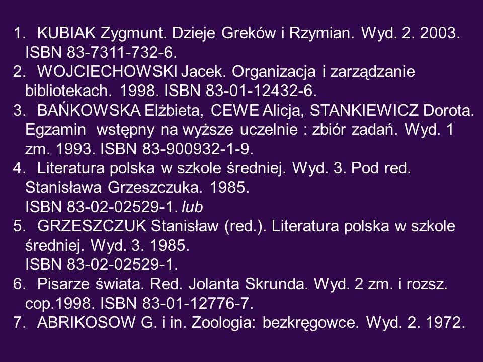 1. KUBIAK Zygmunt. Dzieje Greków i Rzymian. Wyd. 2. 2003. ISBN 83-7311-732-6. 2. WOJCIECHOWSKI Jacek. Organizacja i zarządzanie bibliotekach. 1998. IS