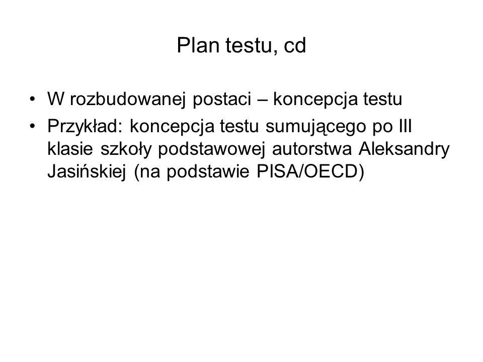 Plan testu, cd W rozbudowanej postaci – koncepcja testu Przykład: koncepcja testu sumującego po III klasie szkoły podstawowej autorstwa Aleksandry Jas