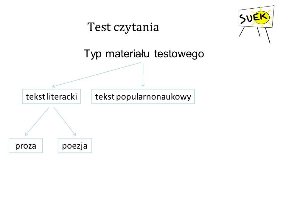 Test czytania Typ materiału testowego tekst literackitekst popularnonaukowy prozapoezja