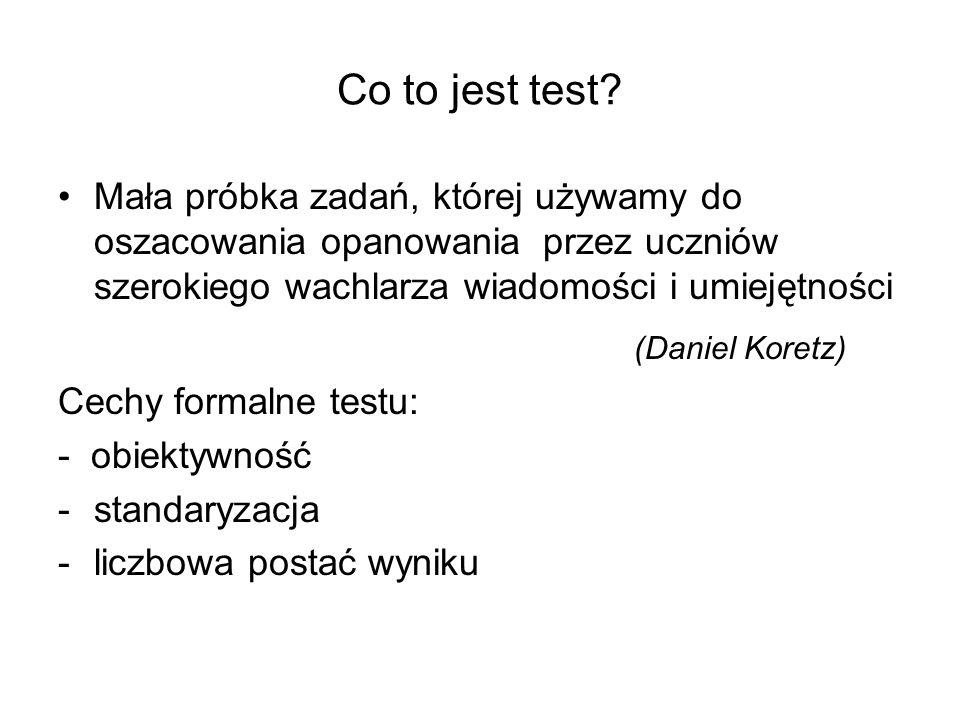 Co to jest test? Mała próbka zadań, której używamy do oszacowania opanowania przez uczniów szerokiego wachlarza wiadomości i umiejętności (Daniel Kore