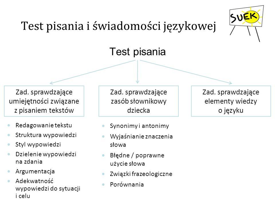 Test pisania i świadomości językowej Test pisania Zad. sprawdzające umiejętności związane z pisaniem tekstów Zad. sprawdzające zasób słownikowy dzieck