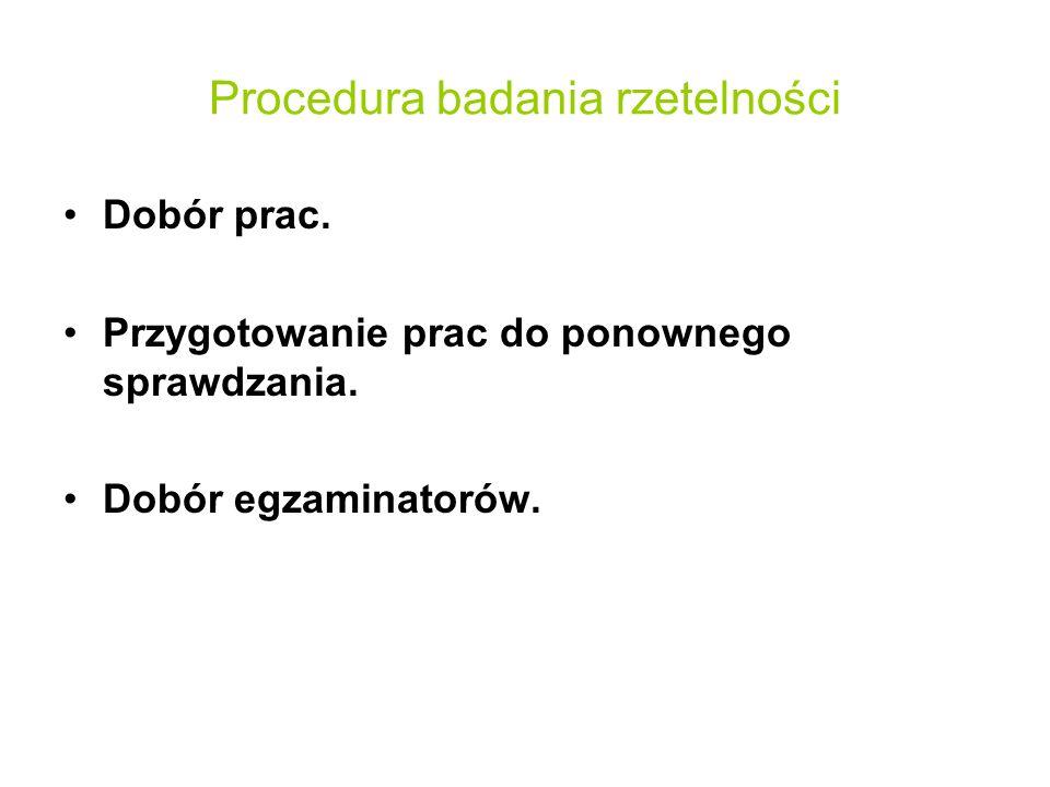 Procedura badania rzetelności Dobór prac. Przygotowanie prac do ponownego sprawdzania. Dobór egzaminatorów.