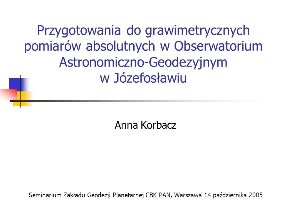 Przygotowania do grawimetrycznych pomiarów absolutnych w Obserwatorium Astronomiczno-Geodezyjnym w Józefosławiu Anna Korbacz Seminarium Zakładu Geodez