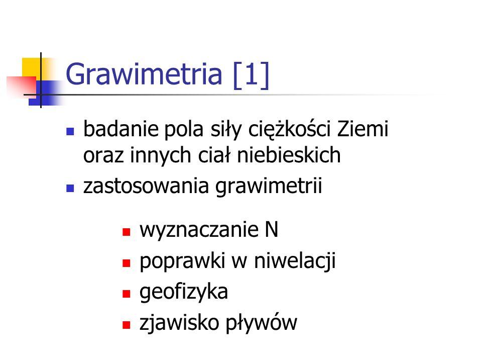 Grawimetria [1] badanie pola siły ciężkości Ziemi oraz innych ciał niebieskich zastosowania grawimetrii wyznaczanie N poprawki w niwelacji geofizyka z
