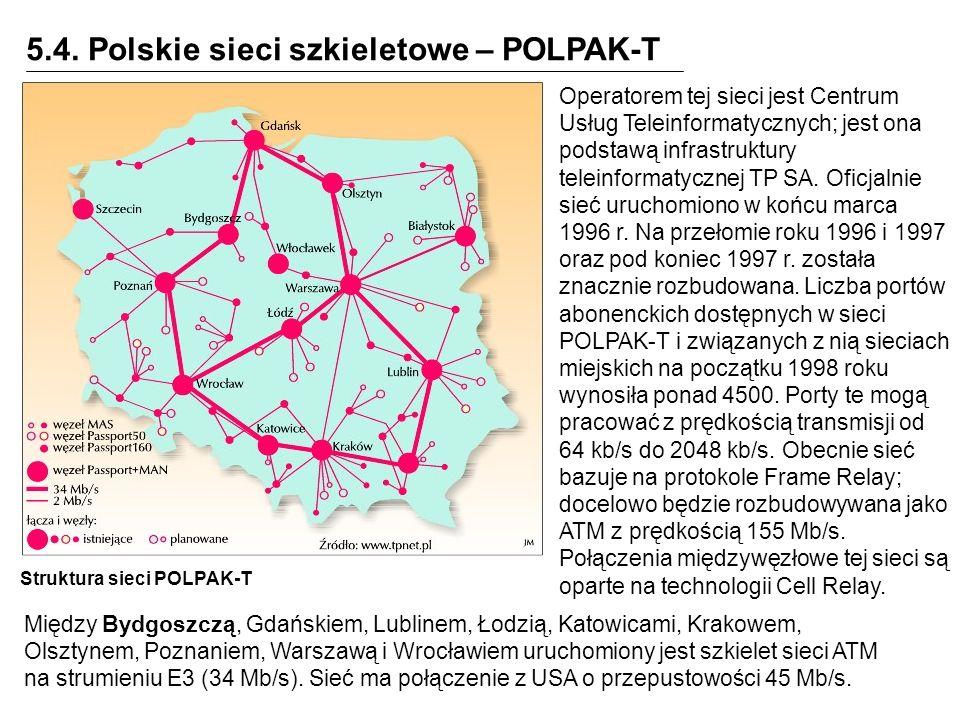 5.4. Polskie sieci szkieletowe – POLPAK-T Struktura sieci POLPAK-T Operatorem tej sieci jest Centrum Usług Teleinformatycznych; jest ona podstawą infr
