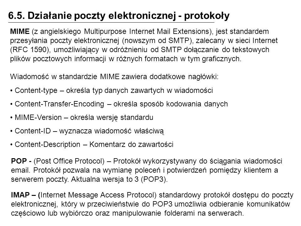 6.5. Działanie poczty elektronicznej - protokoły MIME (z angielskiego Multipurpose Internet Mail Extensions), jest standardem przesyłania poczty elekt
