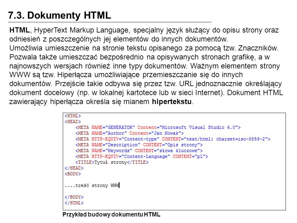 7.3. Dokumenty HTML HTML, HyperText Markup Language, specjalny język służący do opisu strony oraz odniesień z poszczególnych jej elementów do innych d