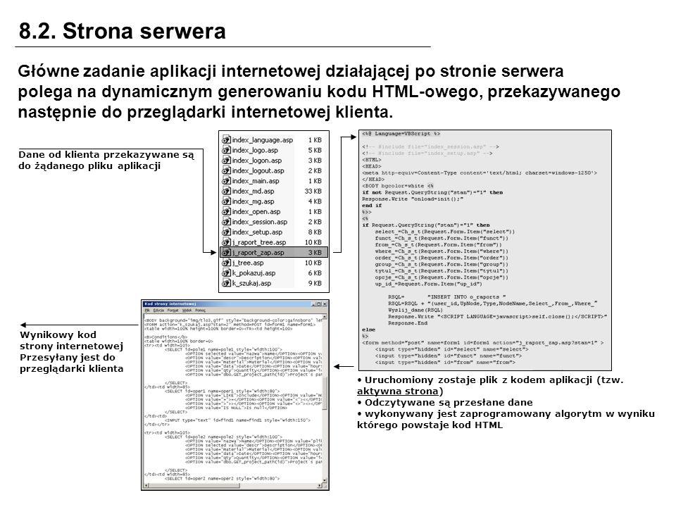 8.2. Strona serwera Główne zadanie aplikacji internetowej działającej po stronie serwera polega na dynamicznym generowaniu kodu HTML-owego, przekazywa