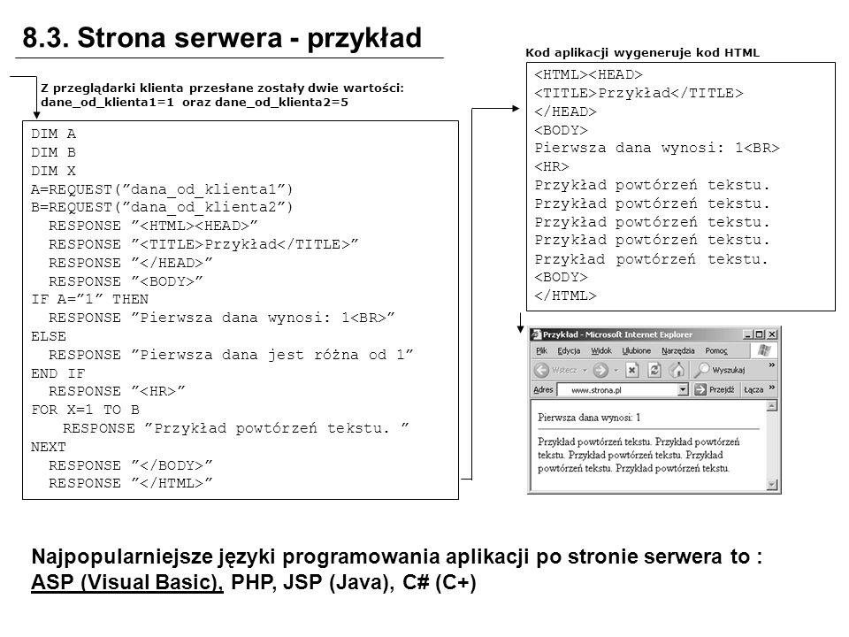 8.3. Strona serwera - przykład Kod aplikacji wygeneruje kod HTML DIM A DIM B DIM X A=REQUEST(dana_od_klienta1) B=REQUEST(dana_od_klienta2) RESPONSE RE
