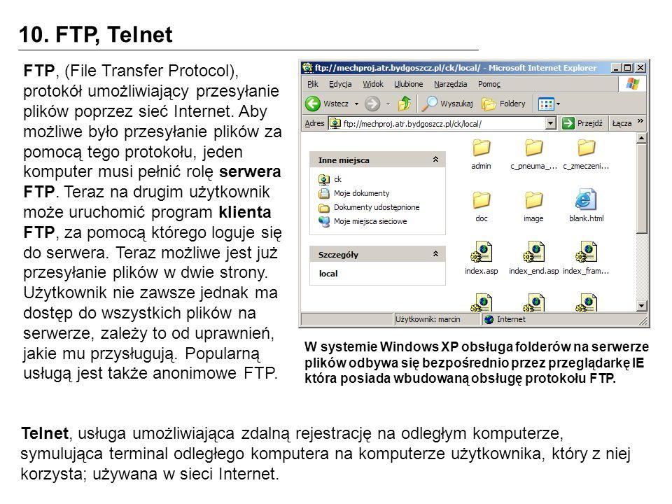 10. FTP, Telnet FTP, (File Transfer Protocol), protokół umożliwiający przesyłanie plików poprzez sieć Internet. Aby możliwe było przesyłanie plików za