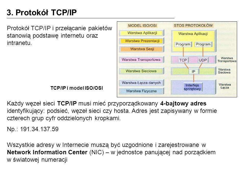3. Protokół TCP/IP TCP/IP i model ISO/OSI Protokół TCP/IP i przełącanie pakietów stanowią podstawę internetu oraz intranetu. Każdy węzeł sieci TCP/IP