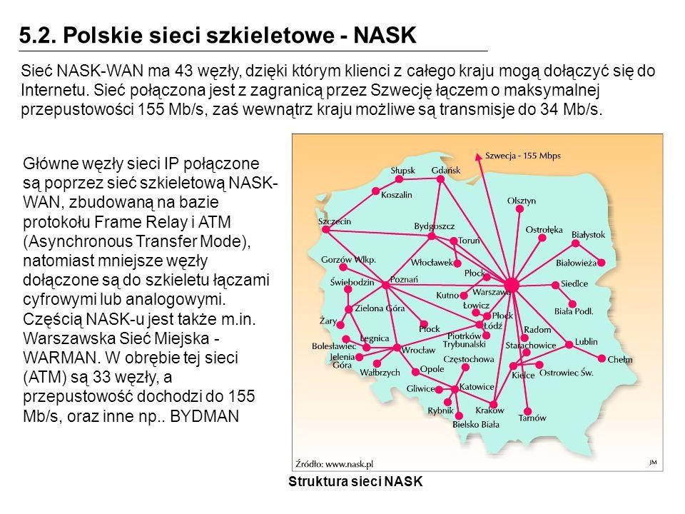 5.2. Polskie sieci szkieletowe - NASK Sieć NASK-WAN ma 43 węzły, dzięki którym klienci z całego kraju mogą dołączyć się do Internetu. Sieć połączona j