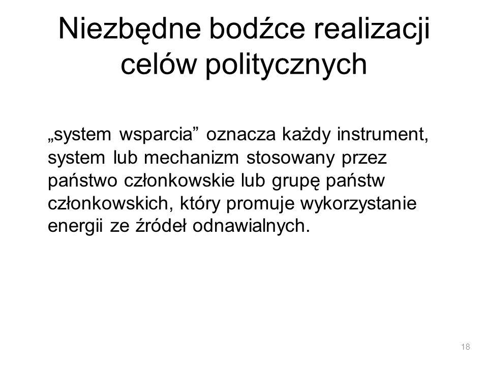 Niezbędne bodźce realizacji celów politycznych system wsparcia oznacza każdy instrument, system lub mechanizm stosowany przez państwo członkowskie lub