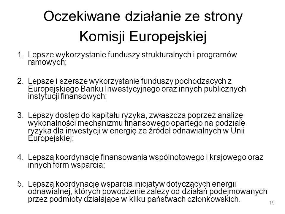 Oczekiwane działanie ze strony Komisji Europejskiej 1.Lepsze wykorzystanie funduszy strukturalnych i programów ramowych; 2.Lepsze i szersze wykorzysta