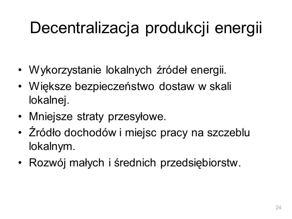 Decentralizacja produkcji energii Wykorzystanie lokalnych źródeł energii. Większe bezpieczeństwo dostaw w skali lokalnej. Mniejsze straty przesyłowe.
