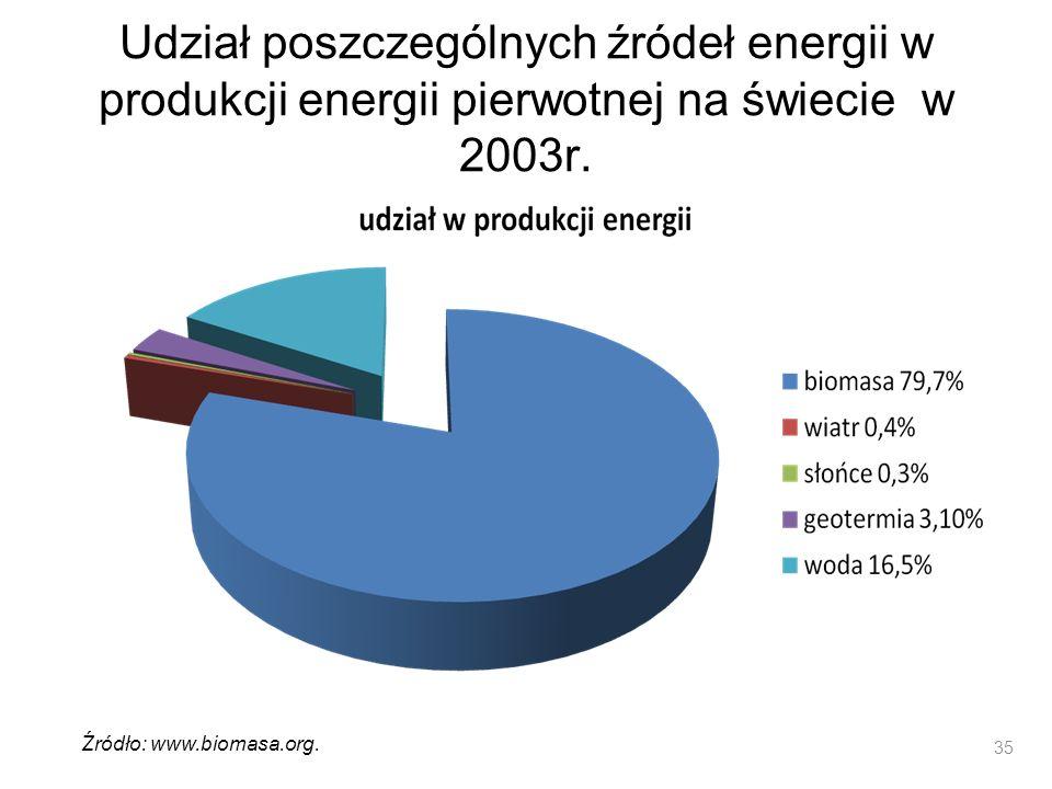 Udział poszczególnych źródeł energii w produkcji energii pierwotnej na świecie w 2003r. 35 Źródło: www.biomasa.org.