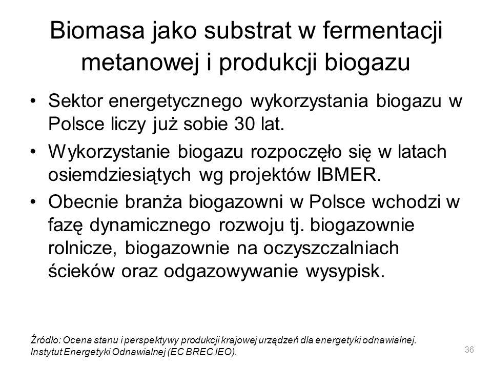 Biomasa jako substrat w fermentacji metanowej i produkcji biogazu Sektor energetycznego wykorzystania biogazu w Polsce liczy już sobie 30 lat. Wykorzy