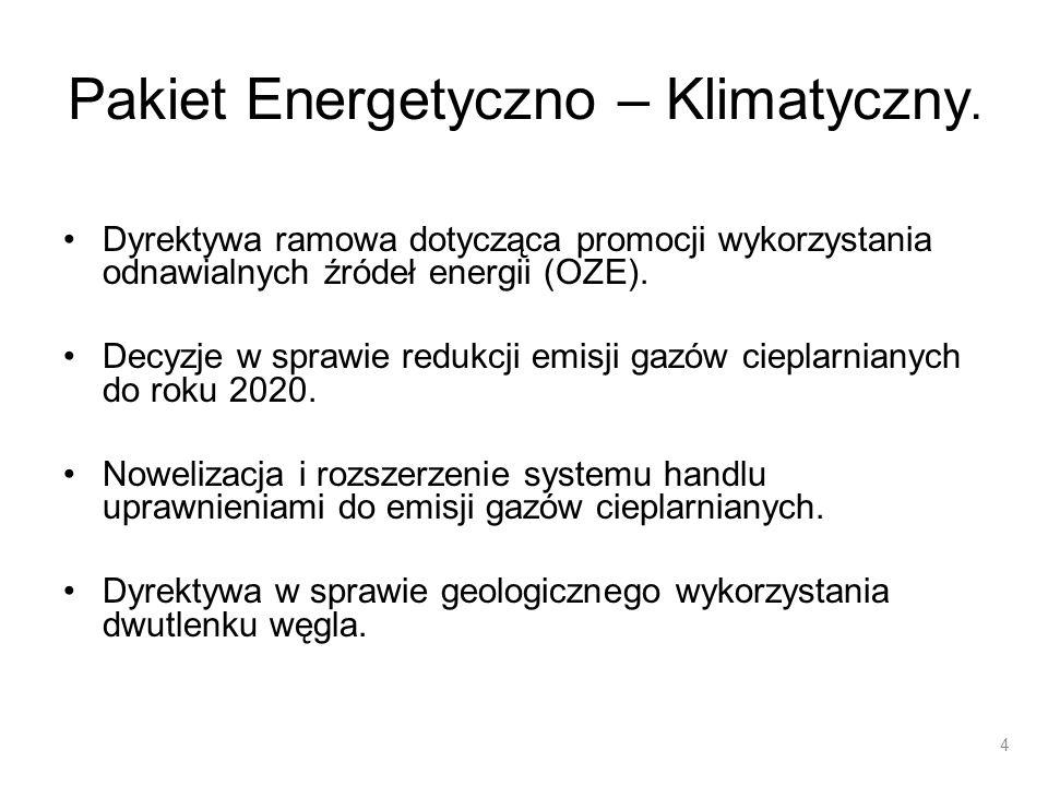 Pakiet Energetyczno – Klimatyczny. Dyrektywa ramowa dotycząca promocji wykorzystania odnawialnych źródeł energii (OZE). Decyzje w sprawie redukcji emi