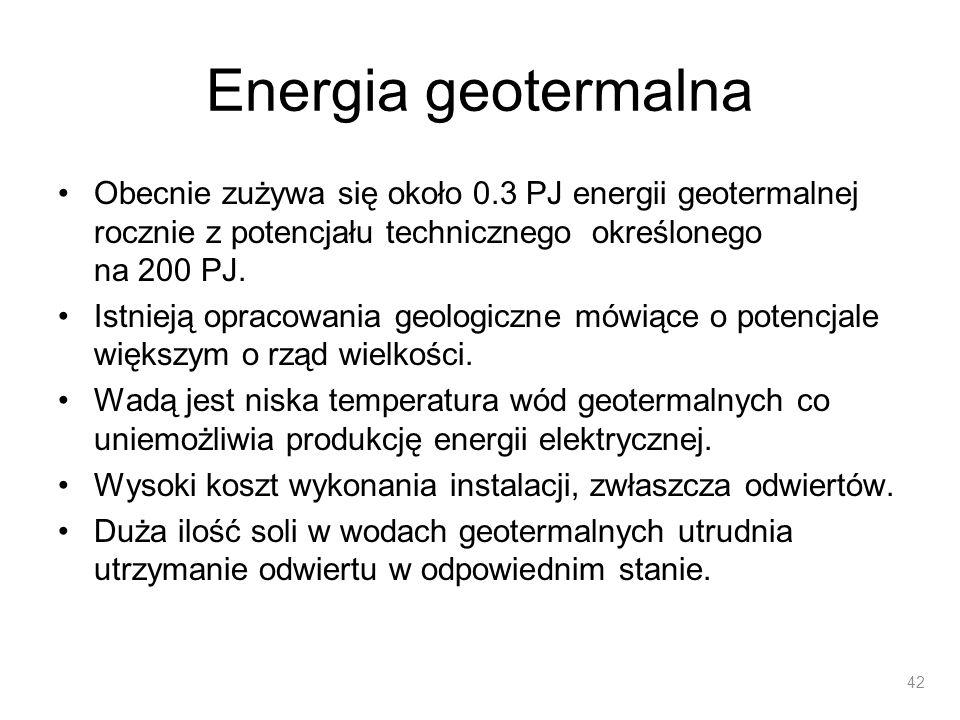 Energia geotermalna Obecnie zużywa się około 0.3 PJ energii geotermalnej rocznie z potencjału technicznego określonego na 200 PJ. Istnieją opracowania