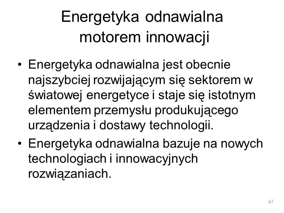 Energetyka odnawialna motorem innowacji Energetyka odnawialna jest obecnie najszybciej rozwijającym się sektorem w światowej energetyce i staje się is
